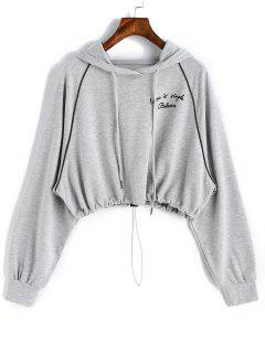 Gathered Hem Letter Cropped Hoodie - Gray