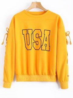USA Graphic Lace Up Sweatshirt - Yellow