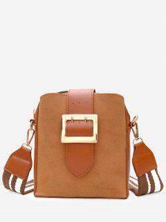 Buckle Strap Cronstrasting Color Crossbody Bag - Brown