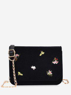 Chain Embroidery Flowers Crossbody Bag - Black