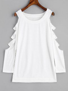 Cut Out Cold Shoulder Sweatshirt - White S