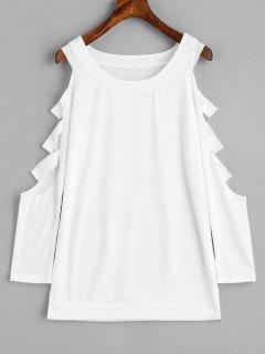 Sweat-shirt Découpé à Épaules Nues - Blanc S