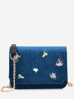 Chain Embroidery Flowers Crossbody Bag - Blue