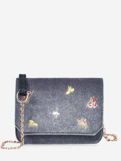 Chain Embroidery Flowers Crossbody Bag - Gray