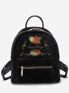 Floral Broderie Lettre Sac à Dos - Noir