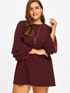 Layered Bell Sleeve Plus Size Cut Out Dress - Wine Red 3xl