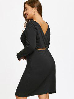Cut Out Crossover Back Plus Size Dress - Black 4xl