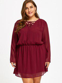 Lace Up Plus Size Chiffon Dress - Red Xl