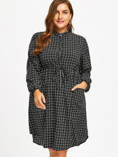 Drawstring Grid Plus Size Shirt Dress - Black 3xl