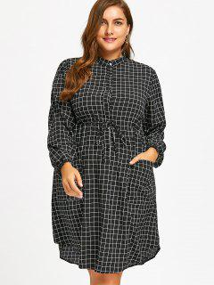 Drawstring Grid Plus Size Shirt Dress - Black 2xl