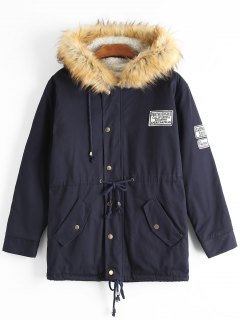 Faux Fur Trim Hooded Shearling Coat - Purplish Blue