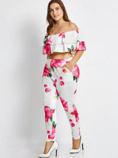 Plus Size Tube Off Shoulder Top And Floral Pants - Floral 2xl