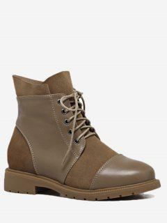 Low Heel Short Boots - Light Brown 36