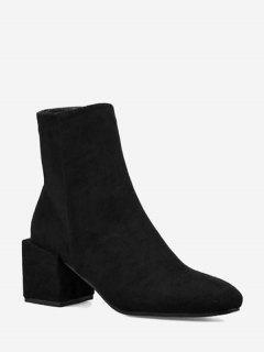 Side Zip Block Heel Short Boots - Black 34