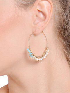 Faux Crystal Pearl Beaded Hoop Earrings - Golden