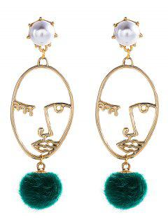 Fuzzy Ball Faux Pearl Funny Face Earrings - Golden