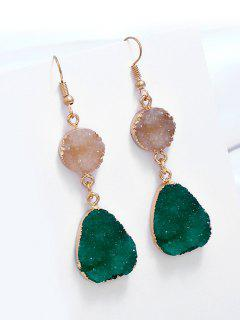 Unique Natural Stone Teardrop Drop Earrings - Green