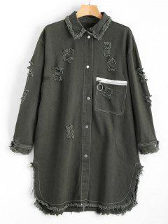 Distressed Patched Denim Coat - Army Green