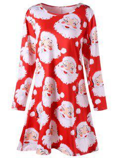 Plus Size Santa Claus Print Mini Swing Dress - Red 2xl