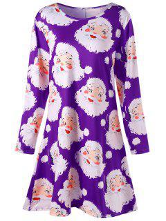 Plus Size Santa Claus Print Mini Swing Dress - Purple Xl