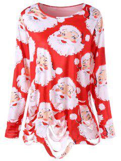 Camiseta Estampada Con Estampado De Santa Claus Y Túnica Rasgada - Rojo 4xl