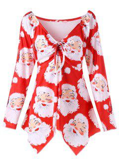 Plus Size Santa Claus Print Christmas T-shirt - Red Xl