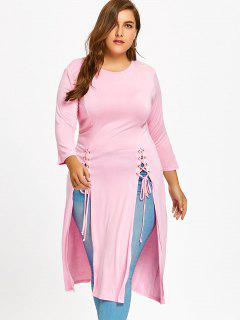 High Slit Lace Up Plus Size Top - Pink 3xl