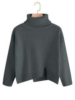 Slit Oversized Turtleneck Sweater - Deep Gray
