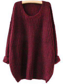 Drop Shoulder Longline Chunky Sweater - Wine Red