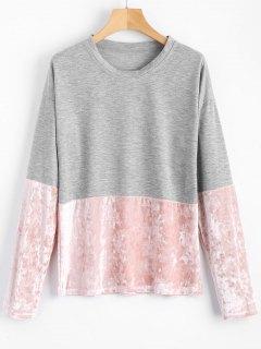 Velvet Panel Long Sleeve T-shirt - Gray S