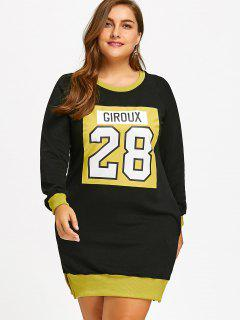 Slit Flocking Graphic Plus Size Sweatshirt Dress - Yellow 3xl