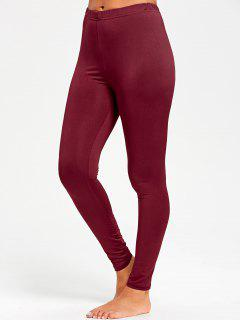 High Waist Tight Leggings - Red M