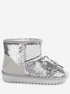 Rhinestone Spider Sequined Snow Boots - Silver 37