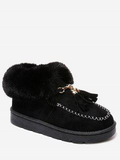 Faux Fur Tassels Ankle Boots - Black 38