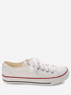 Stitching Lace Up Canvas Shoes - White 40