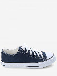 Stitching Lace Up Canvas Shoes - Blue 41