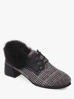 Plaid Faux Fur Chunky Heel Ankle Boots - Gray 38