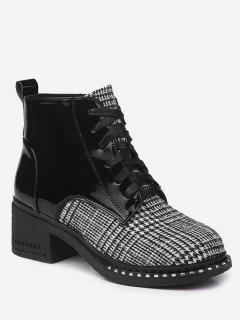 Plaid Mid Heel Rivets Boots - Black White 35