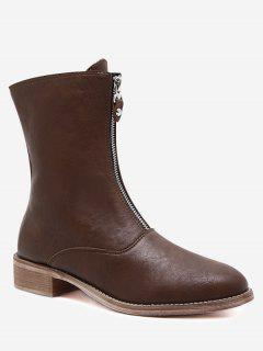PU Leather Cork Heel Front Zip Boots - Deep Brown 38
