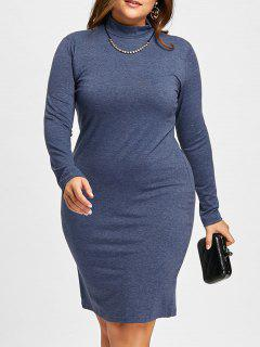 Plus Size High Neck Midi Sheath Dress With Sleeves - Deep Blue 5xl