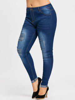 Plus Size Ripped Distressed Cuffed Jeans - Denim Blue Xl