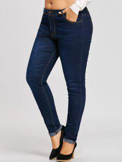 Plus Size Midi Waist Cuffed Jeans - Denim Blue 3xl