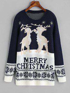 Elk Graphic Zig Zag Christmas Sweater - Purplish Blue M