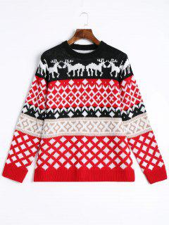Elk Geometric Pullover Christmas Sweater - Red S