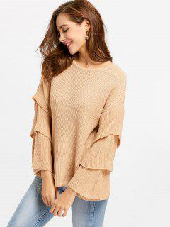 Layered Flare Sleeve Sweater - Card Apricot S