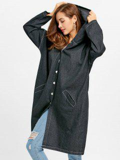 Oversized Button Up Hooded Denim Coat - Black