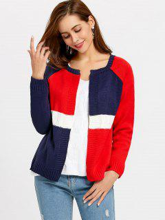 Contrast Open Cardigan - Blue + White + Red