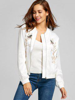 Bird Floral Patched Zip Up Bomber Jacket - White