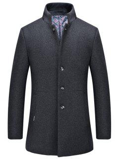 Single-Breasted Stand Collar Wool Blend Coat - Gray Xl