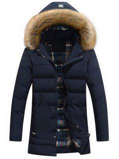 Faux Fur Hood Winter Puffer Coat - Blue L